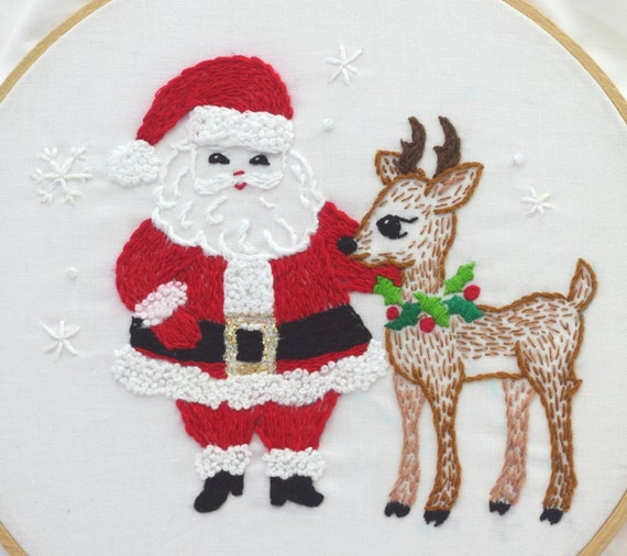 Santa Claus Embroidery Pattern Santa Embroidery Design Etsy