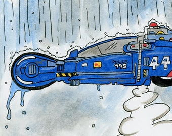Police Spinner 44. - an original ink illustration inspired by Blade Runner