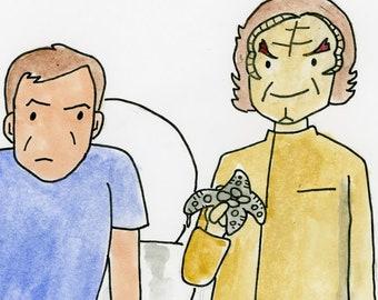 Dr Phlox removes the osmotic eel - illustration inspired by Star Trek Enterprise