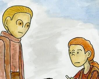 Constable Odo meets Kira on Terok Nor - illustration inspired by Star Trek DS9