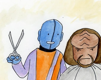 Worf gets a haircut from Mr Mot - illustration inspired by Star Trek TNG