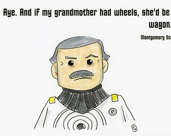 Scotty's thoughts on the Excelsior  - illustration inspired by Star Trek - part of the Star Trek 366