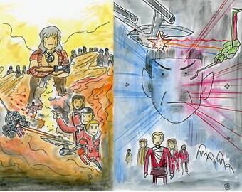 Star Trek Scribbles film posters 1-4 - set of eight postcards