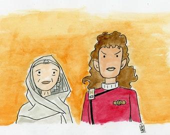 Amanda and Saavik - illustration inspired by Star Trek IV The Voyage Home