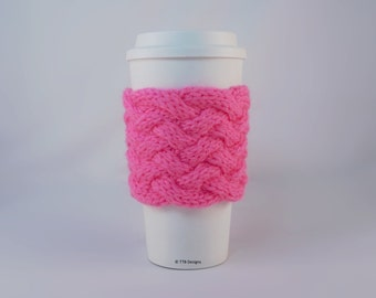 Hand Knit Coffee To Go Sleeve Cozy Woven Cable in Pretty n Pink