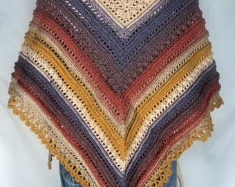 Wrap Shawl Hand Crochet in colors of the woods