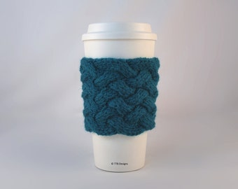 Knit Coffee To Go Sleeve Cozy Woven Cable in Teal