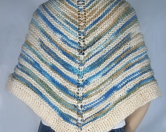Wrap Shawl Hand Knit in Beach colors