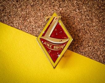 Joke Shop sign - Hard enamel pin - Pearl gold plated