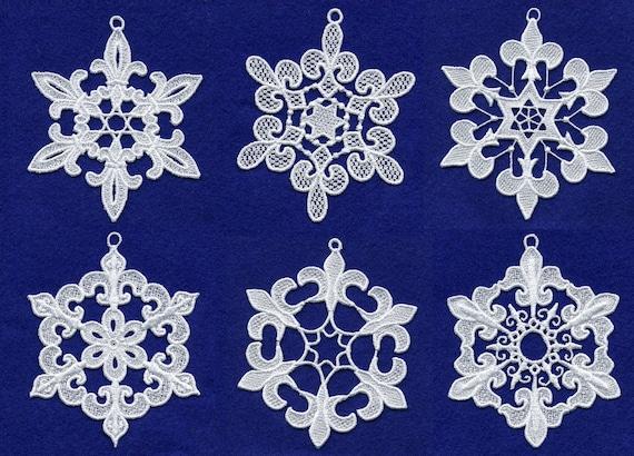 Fiocchi Di Neve Di Carta Modelli : Fleur de lis fiocchi di neve di pizzo ricamo design set etsy