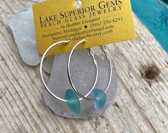 Pretty Aqua Blue Lake Superior Beach Sea Glass Necklace w Hamsa Charm