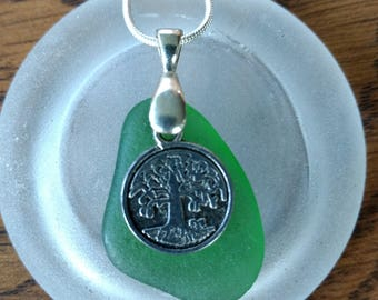 Authentic Green Lake Superior Beachglass Pendant Necklace Tree of Life Charm