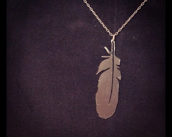 Sterling silver hand cut osprey feather pendant necklace