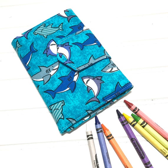 Baby shark, crayon wallet, Coloring book, Washable toy, Crayon case, Crayon  roll up, crayon holder, Kids crafts, Crayon holder, shark wallet