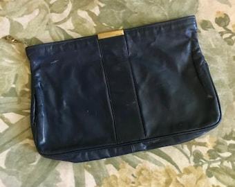 1970's navy blue leather handbag Vintage envelope top zip purse 70's clutch metal hardware