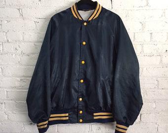vintage satin bomber jacket / navy and mustard yellow varsity jacket / blank team track jacket