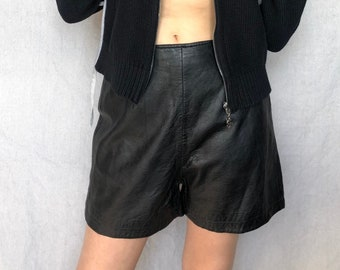 e3620aa57 vintage 80s black leather shorts   classic high waisted leather hot pants    buttery soft leather pin up shorts