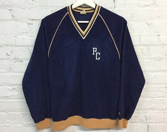 vintage 70s Champion athletic pullover / embroidered academic PC sweater / v neck sportswear terry sweatshirt