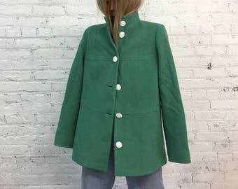 vintage 60s mod pistachio green a line wool coat / seafoam green 60s flared jacket