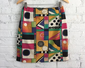 vintage 90s The Limited skirt / colorful abstract geometric mini skirt / abstract print bandage skirt / colorblock body con skirt