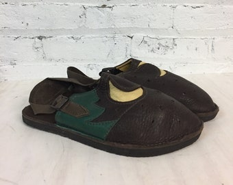 vintage handmade leather slingback hippie clogs / slip on buckle leather mules with moon and tree
