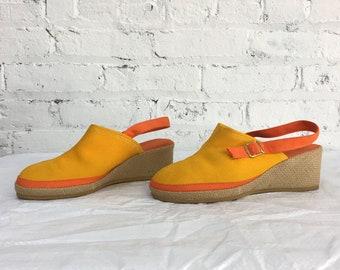 vintage 60s Keds Grasshoppers slingback mules / woven wedge heels / color block canvas espadrilles
