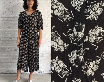 931596cb6b9c vintage indian gauze black and white floral wide leg jumpsuit   drapey  flowy palazzo pantsuit one piece