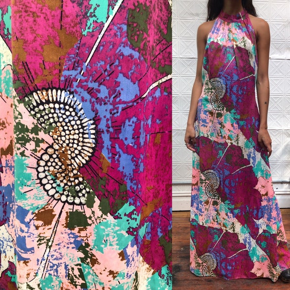1960s mod psychedelic abstract floral splatter pri