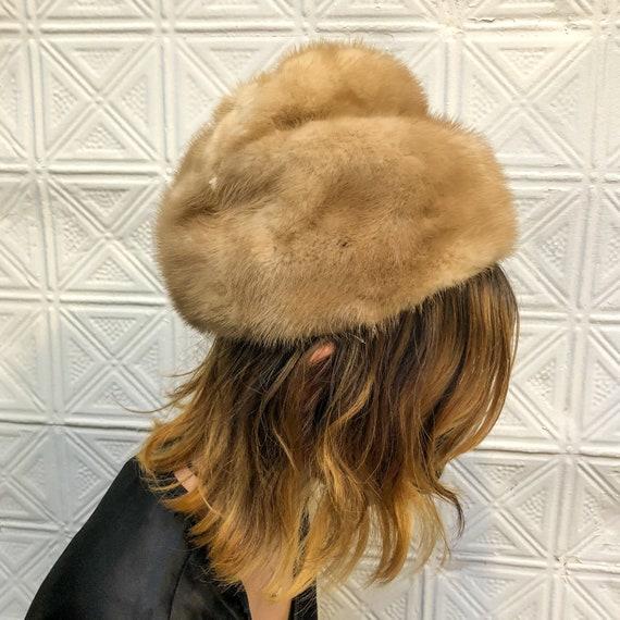 vintage blond mink hat / 60s fur hat / structural