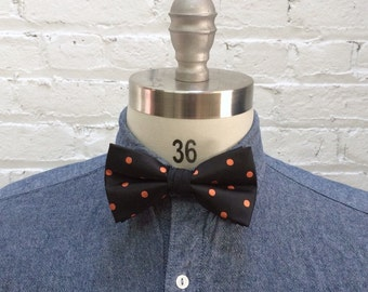 vintage black and coral polka dot bow tie