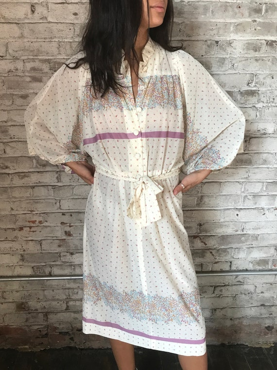 1970s cream ditsy floral prairie dress / 70s cali… - image 3