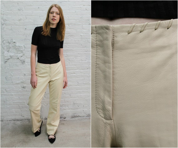 vintage Cache off white leather flare pants / crea