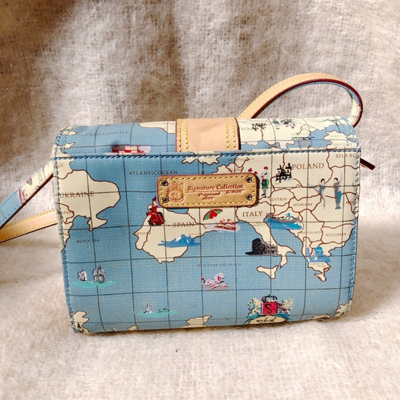 vintage travel globe print crossbody bag / map de… - image 5