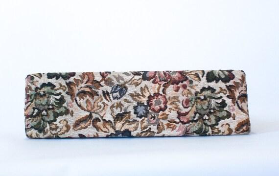 vintage cream floral tapestry handbag / 50s 60s t… - image 6