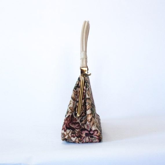 vintage cream floral tapestry handbag / 50s 60s t… - image 4
