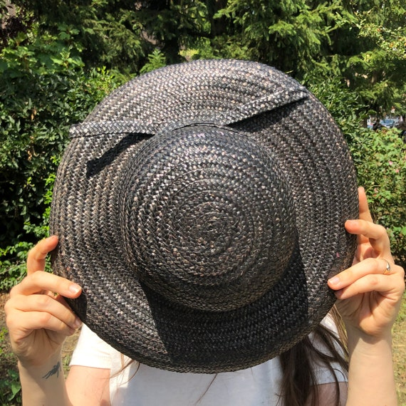 vintage black straw hat / raffia straw sun hat