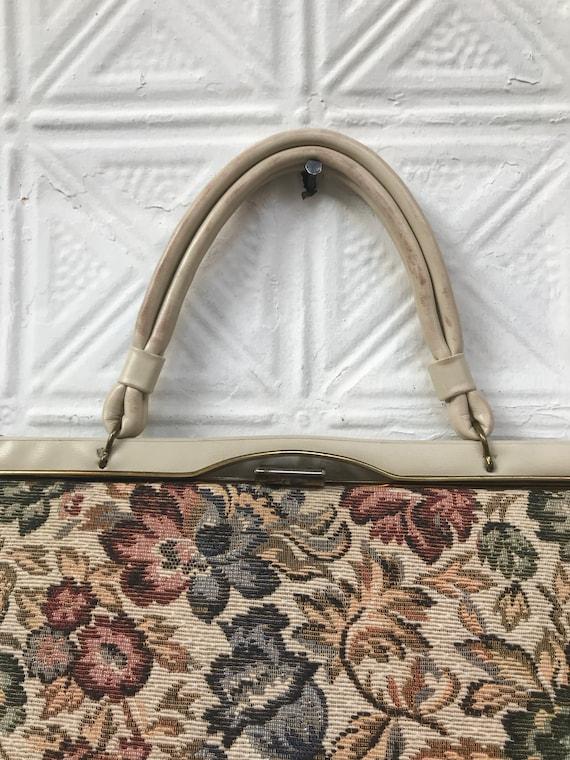 vintage cream floral tapestry handbag / 50s 60s t… - image 2