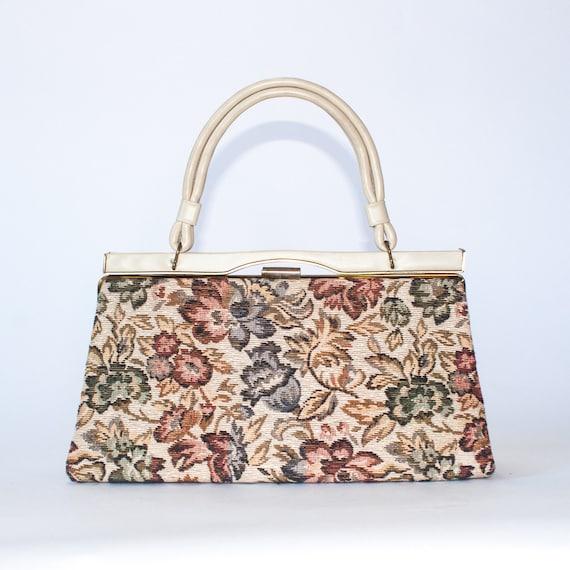 vintage cream floral tapestry handbag / 50s 60s t… - image 3