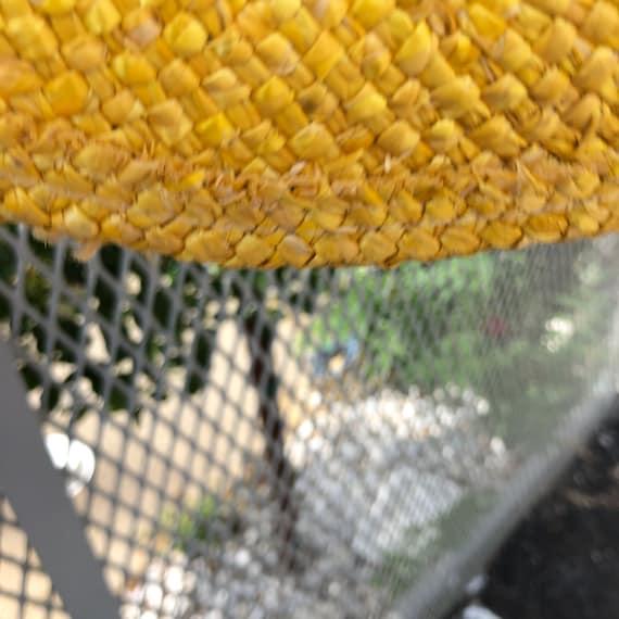 vintage fedora hat / raffia straw fedora / yellow… - image 10