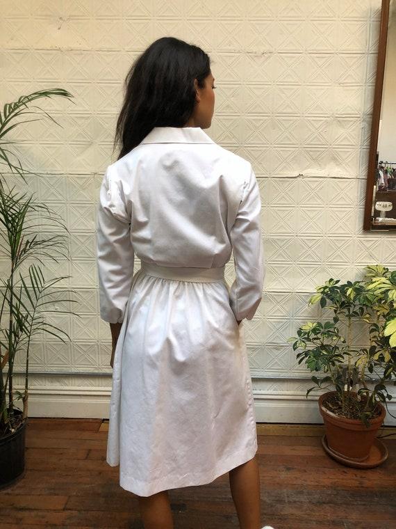 vintage 80s white dress / minimalist white shirt … - image 5