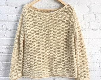 vintage open knit cream wool sweater / delicate Indian wool top / neutral oatmeal minimal sweater