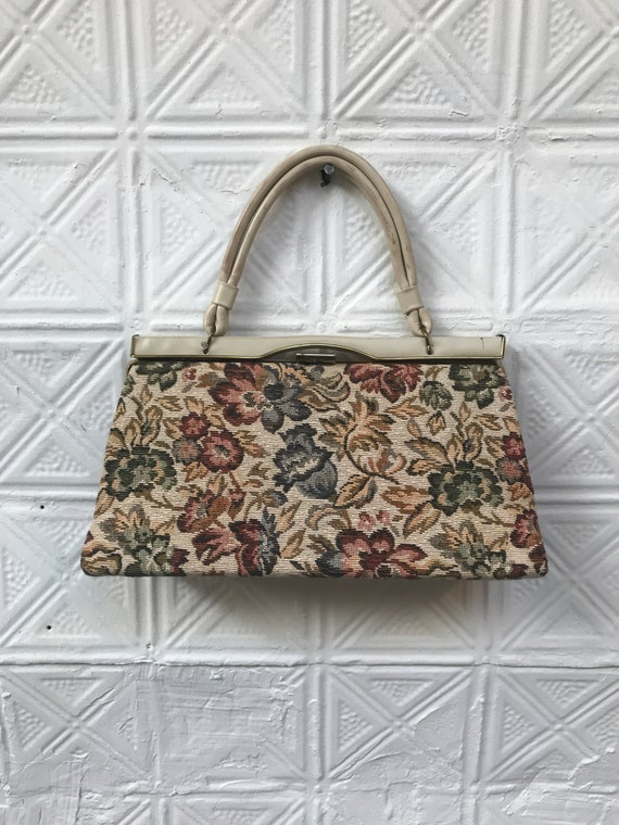 vintage cream floral tapestry handbag / 50s 60s to