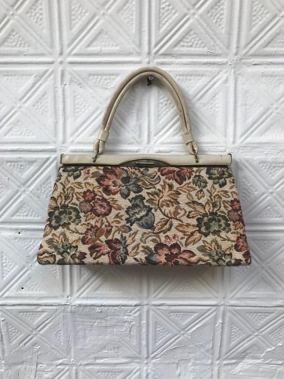 vintage cream floral tapestry handbag / 50s 60s t… - image 1