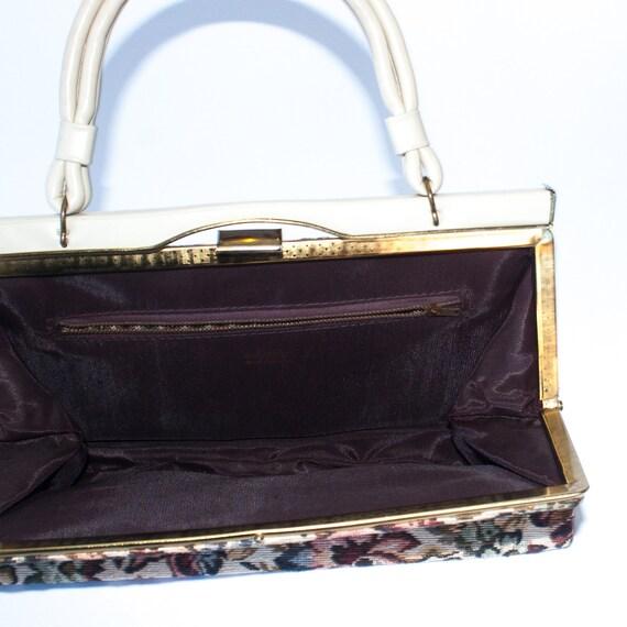 vintage cream floral tapestry handbag / 50s 60s t… - image 7