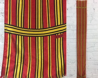 vintage striped silk skinny scarf / royal regal red and mustard yellow striped silk ascot