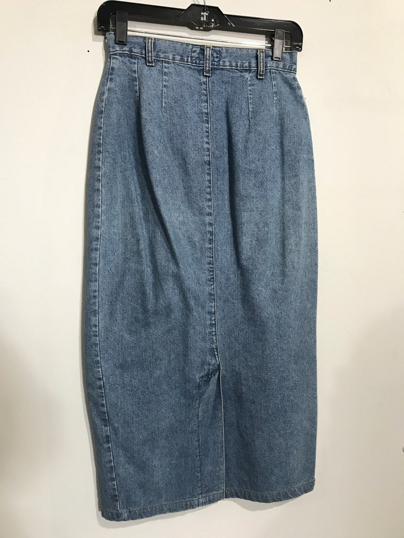 1a42bdc798 Vintage denim skirt / button front fitted wiggle maxi skirt / | Etsy