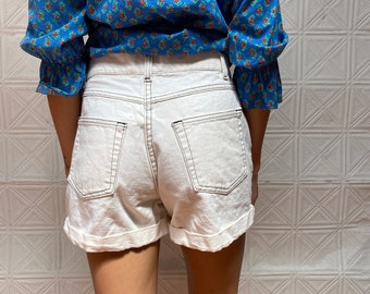 vintage womens high waisted denim shorts / 70s white denim shorts / daisy duke pinup sexy shorts / jean shorts jorts