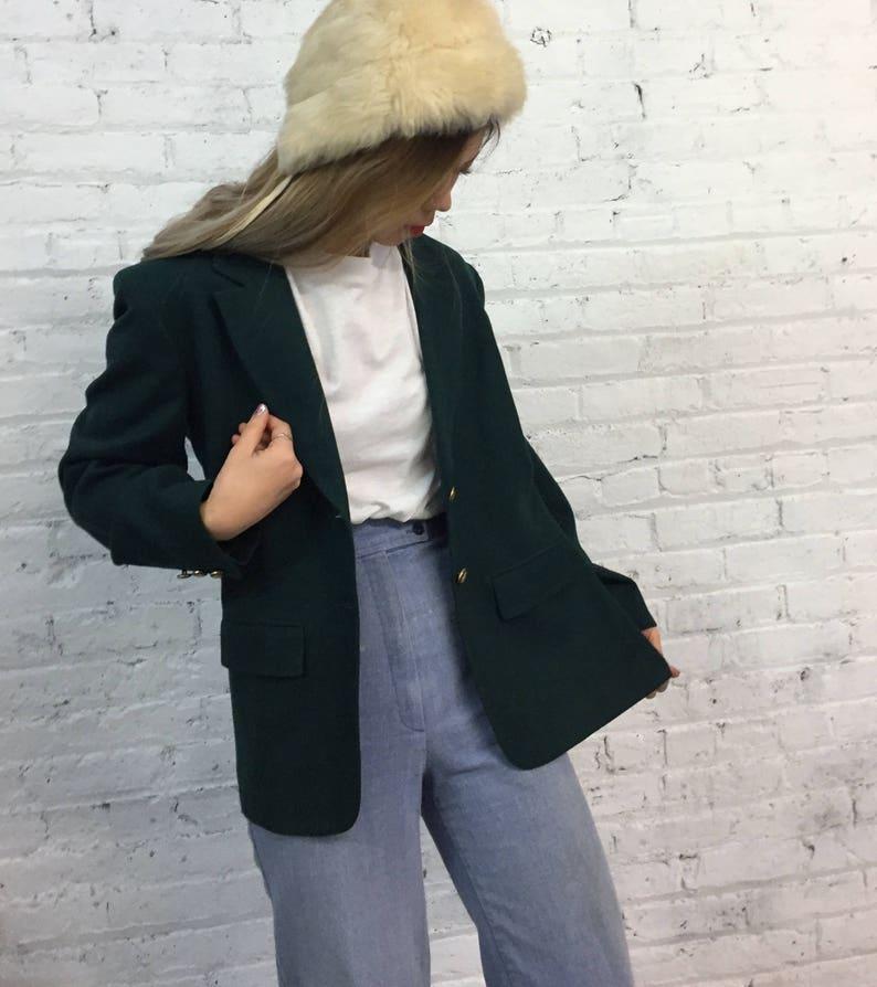 vintage Pendleton wool blazer  classic forest green tweed blazer  preppy gold royal crest button sport coat
