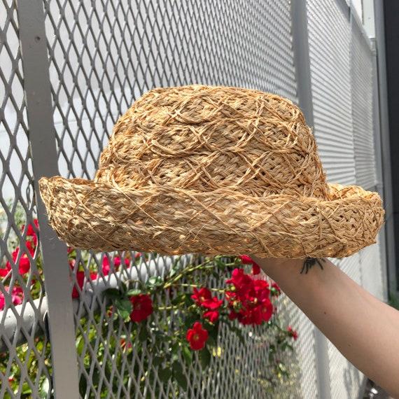 vintage straw hat / abaca cruiser hat / woven raff