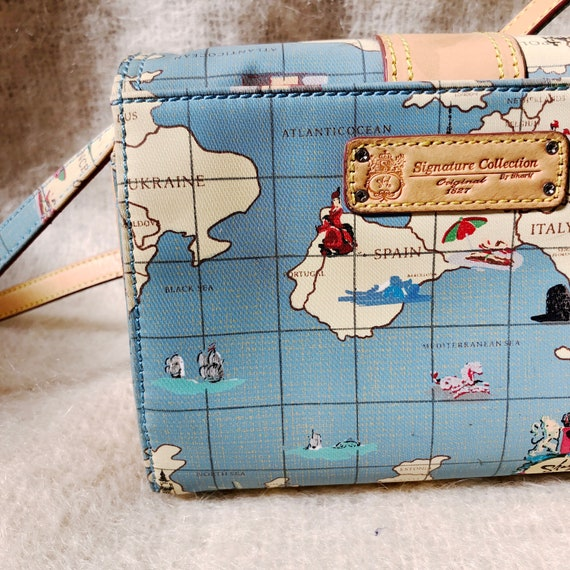 vintage travel globe print crossbody bag / map de… - image 7
